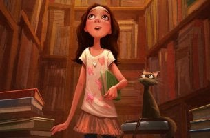Flicka bland böcker