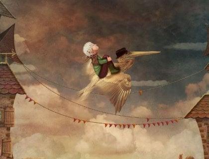 Pojke på fågel