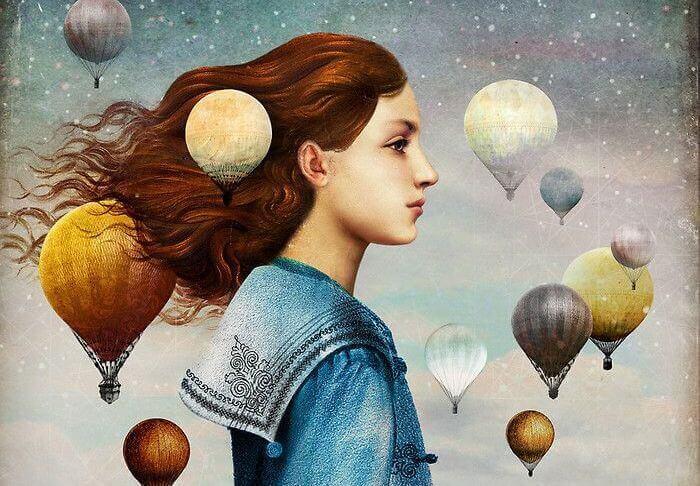 Flicka och luftballonger