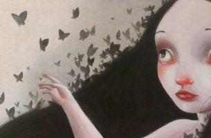 Flicka med fjärilar