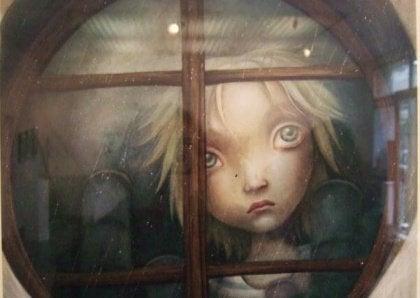 Flicka i fönster