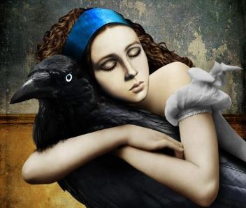 Kvinna kramar korp