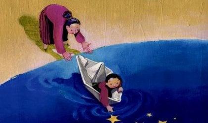 Mamma, barn och pappersbåt