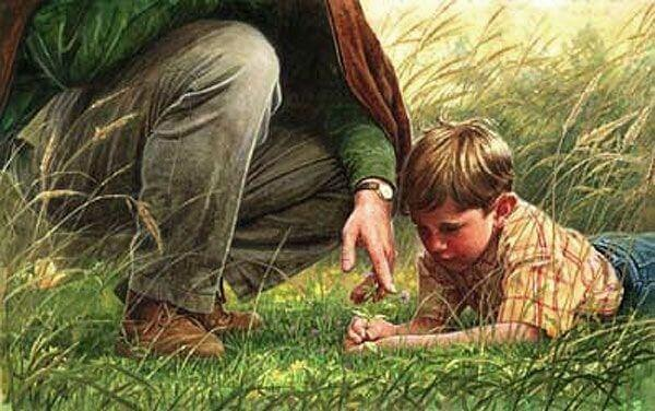 Pojke i gräset