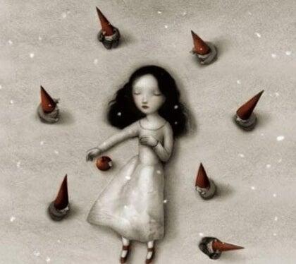 Flicka med tomtar