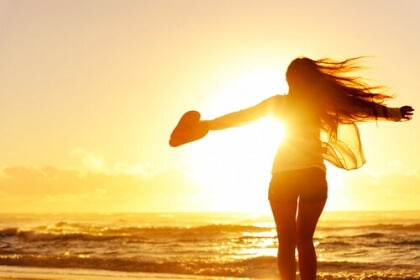 Soluppgång på en strand