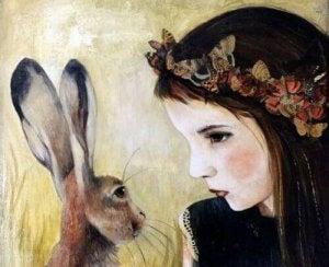Flicka och hare