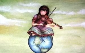 Flicka med fiol