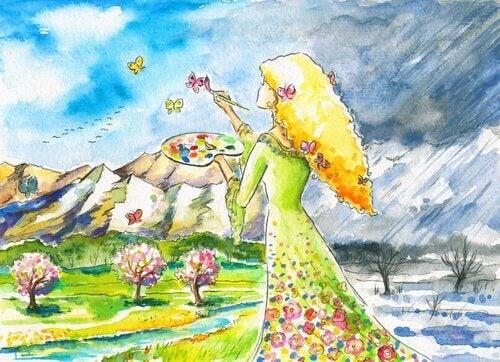 Kvinna som målar