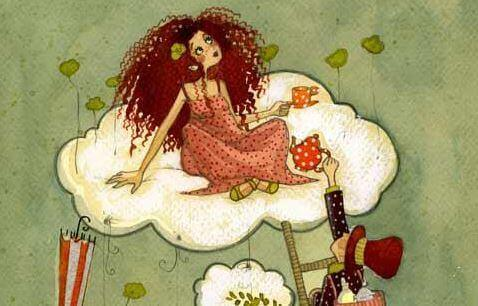 Flicka på moln