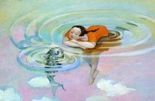 Kvinna och fisk