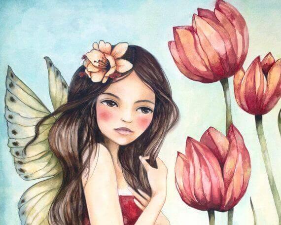 Flicka och blommor