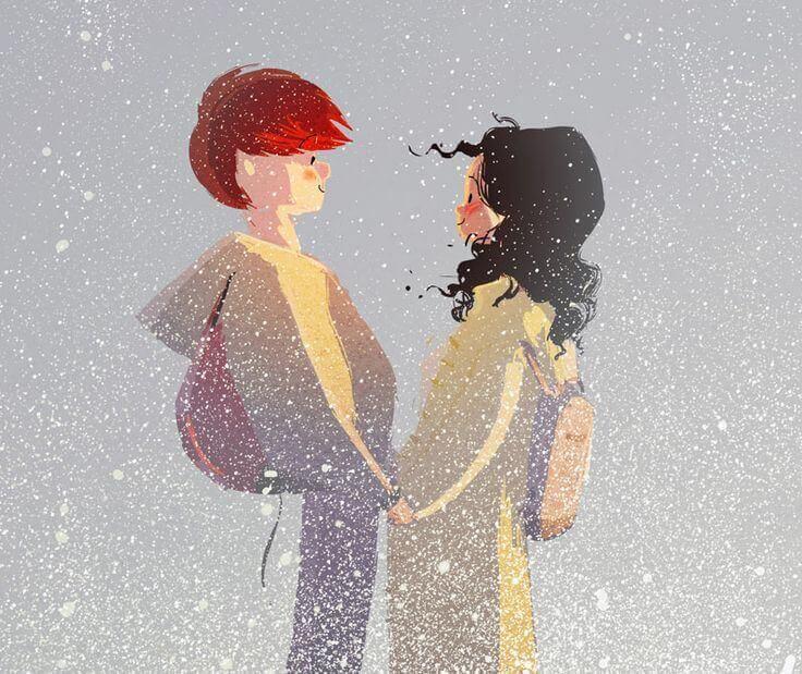 Par i snöfall