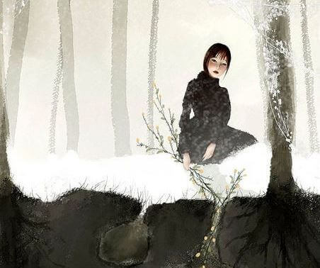 Kvinna i snö