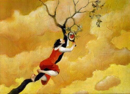 Kvinna i träd