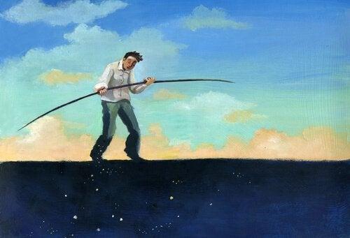 I fabeln om det svarta fåret rubbas balansen av en enda man.