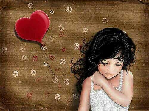 Flicka med hjärtformad ballong
