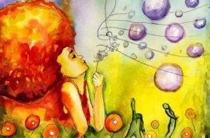 Afroflicka med bubblor