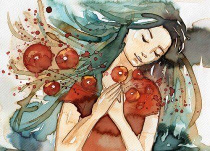 Flicka i vattenfärg