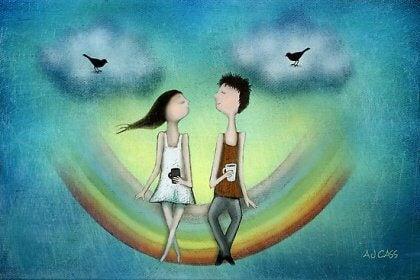Par på regnbåge