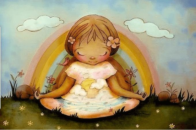 Flicka som mediterar