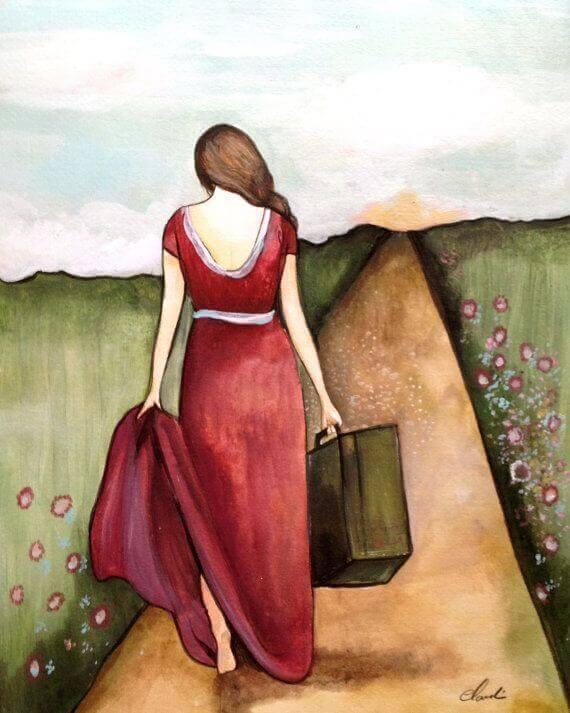 Kvinna med koffert
