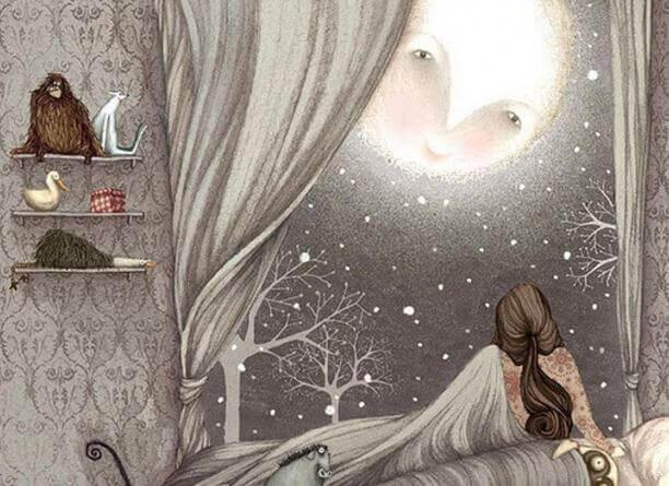 Kvinna och måne