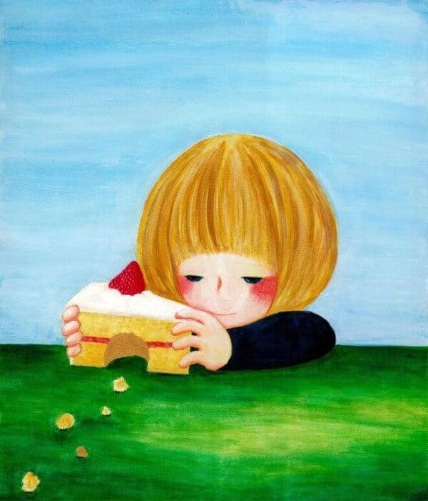 Barn med tårtbit