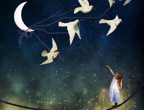 Fåglar och månen
