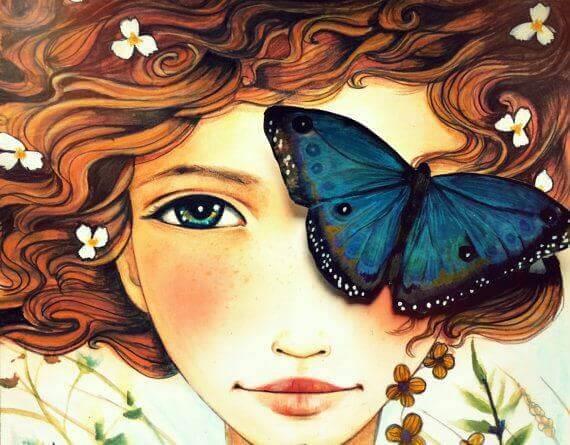 Fjäril på flicka