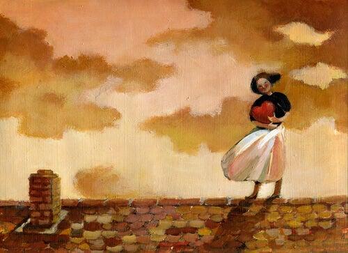 Kvinna på tak