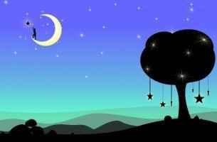 Måne och stjärnor