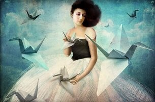 Kvinna och origami