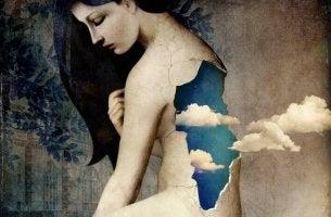 Kvinna med moln