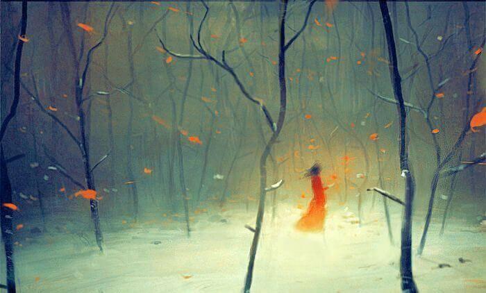 Ensam i skogen