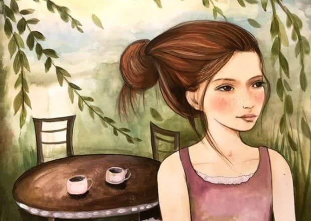 Flicka med fika