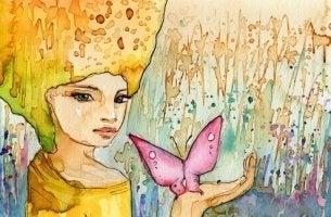 Flicka med fjäril