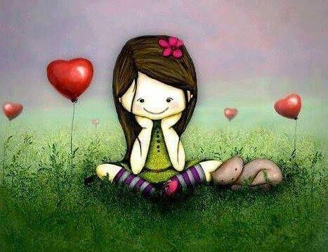Flicka med hjärtballonger