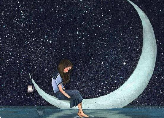 Flicka på månen