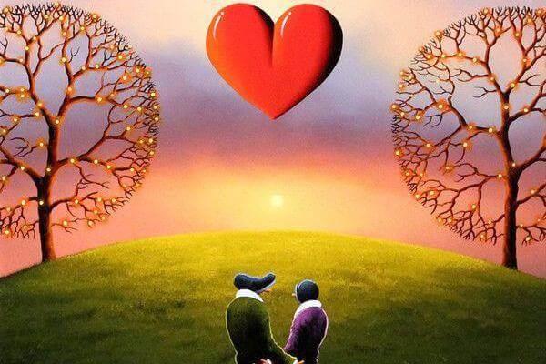 Hjärta i solnedgång