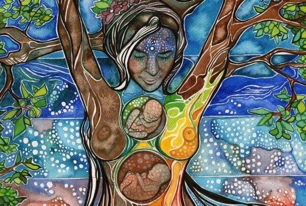 Kvinna med foster
