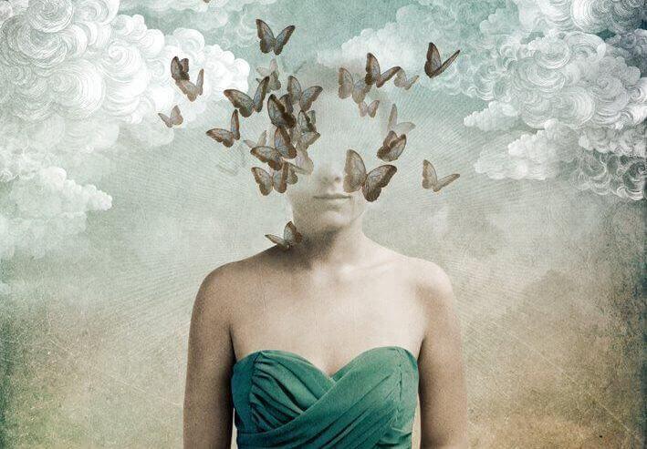 Ansikte med fjärilar