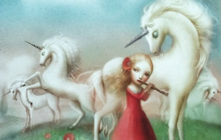 Enhörningar och flicka