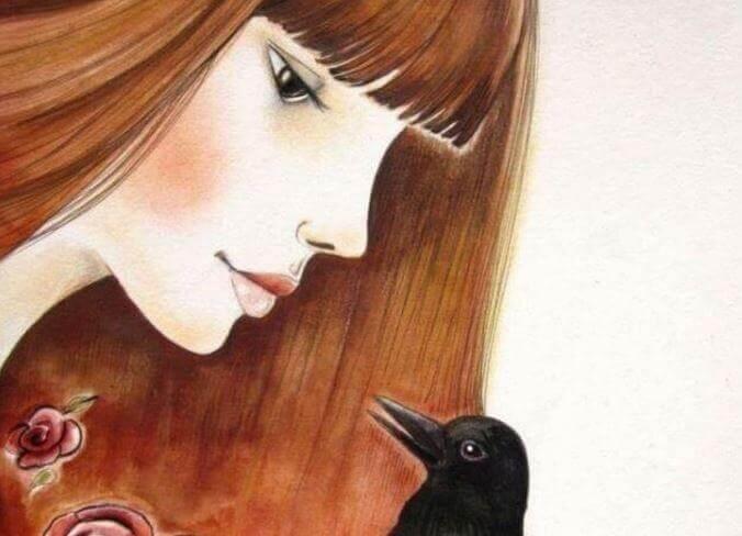 Fågel med flicka