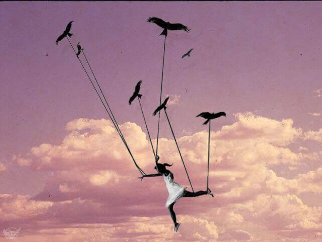 Fåglar bär kvinna