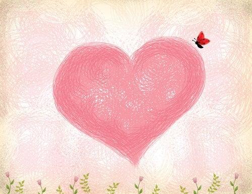 Fjäril på hjärta