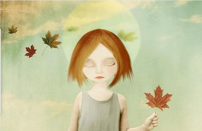 Flicka med löv