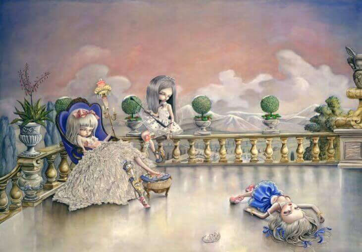 Flickor på altan