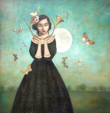 Kvinna med instrument