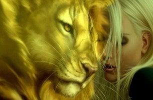 Lejon och kvinna